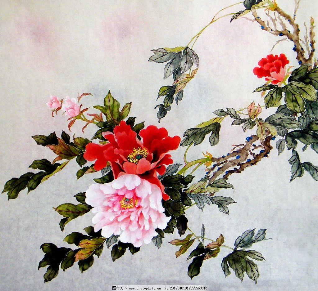 富贵映霞 美术 中国画 工笔画 牡丹画 牡丹花 红牡丹 国画艺术 国画集