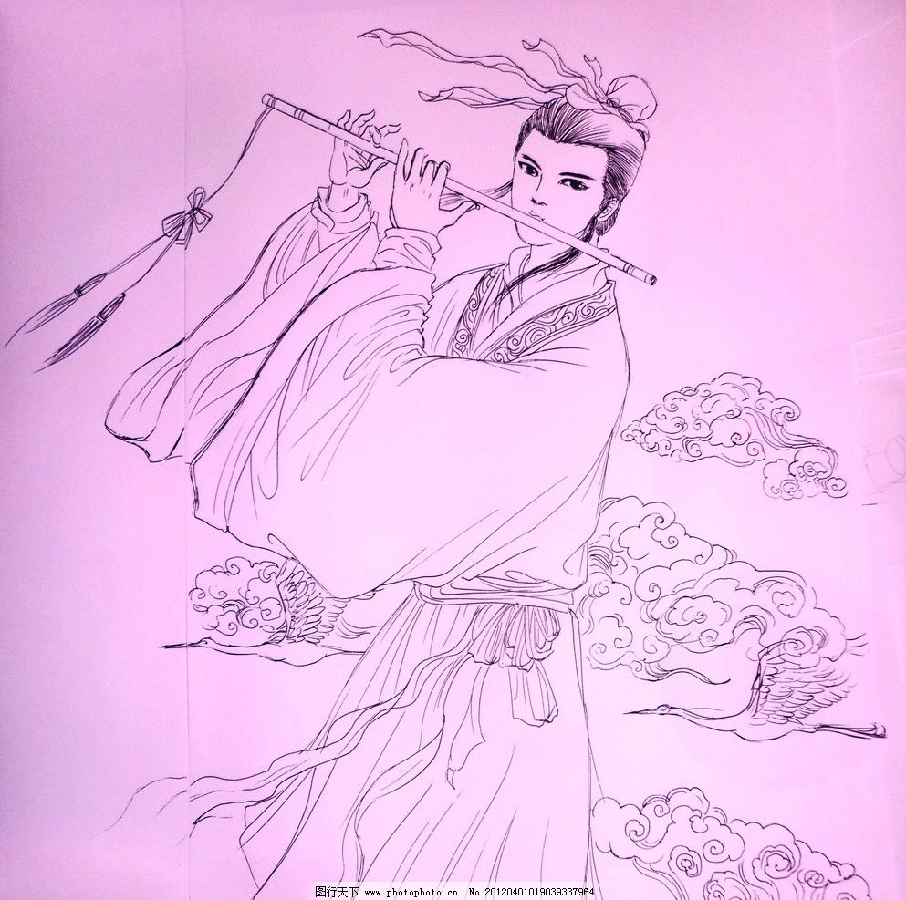 韩湘子 中性笔绘图片