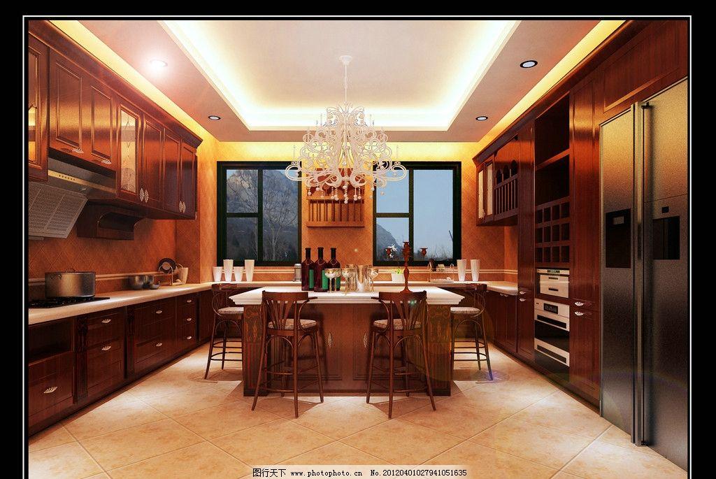 欧式厨房 橱柜 白色吊灯