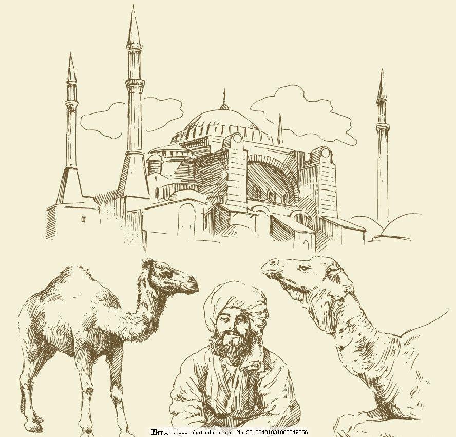 手绘商人骆驼建筑矢量图片