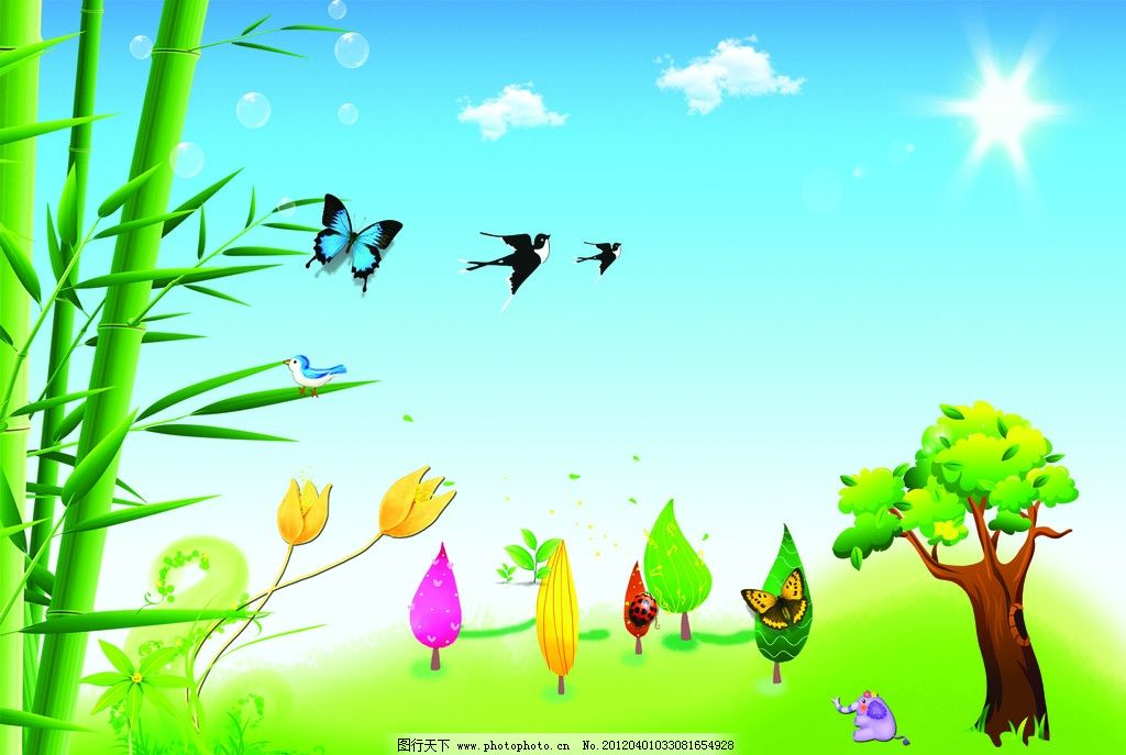 春天插画 燕子 竹子 树 蓝天 白云 太阳 蝴蝶 花 春天风景画