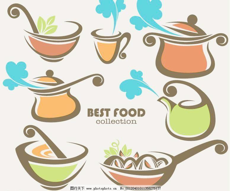 手绘厨房烹饪美食矢量图片