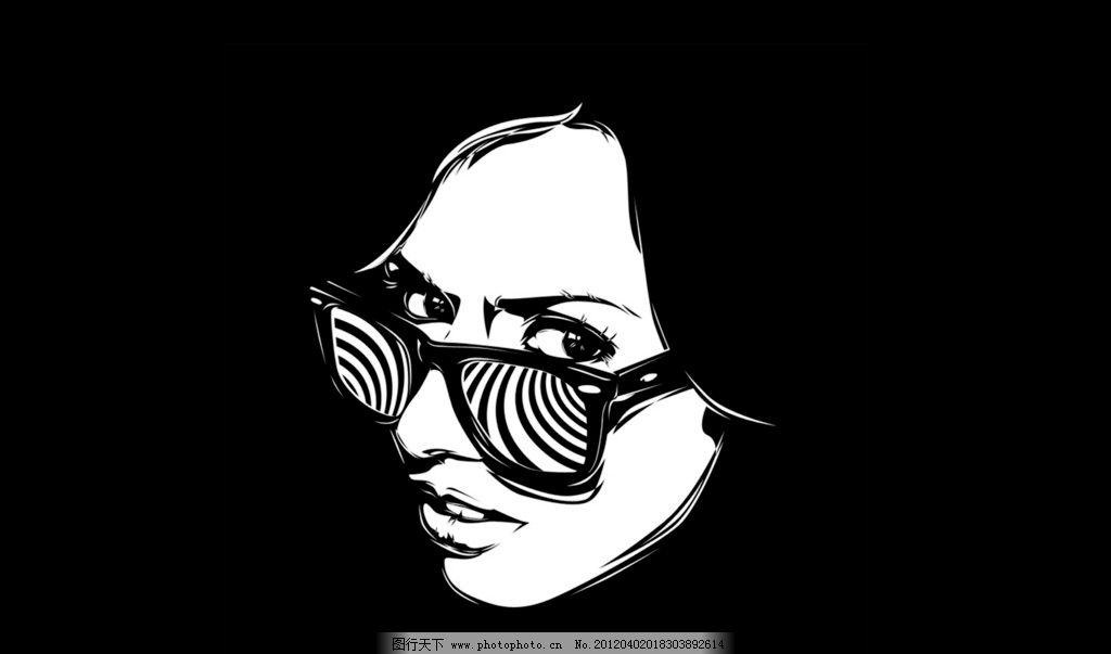 眼镜 美女 卡通 漫画 黑色 背景 壁纸 jpg 动漫人物 动漫动画 设计 72