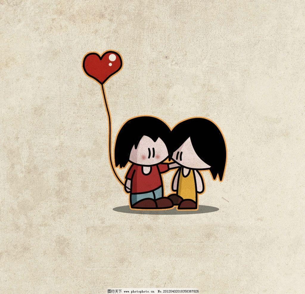 卡通情侣 可爱 甜蜜 爱心 气球 动漫人物 动漫动画 设计 100dpi jpg