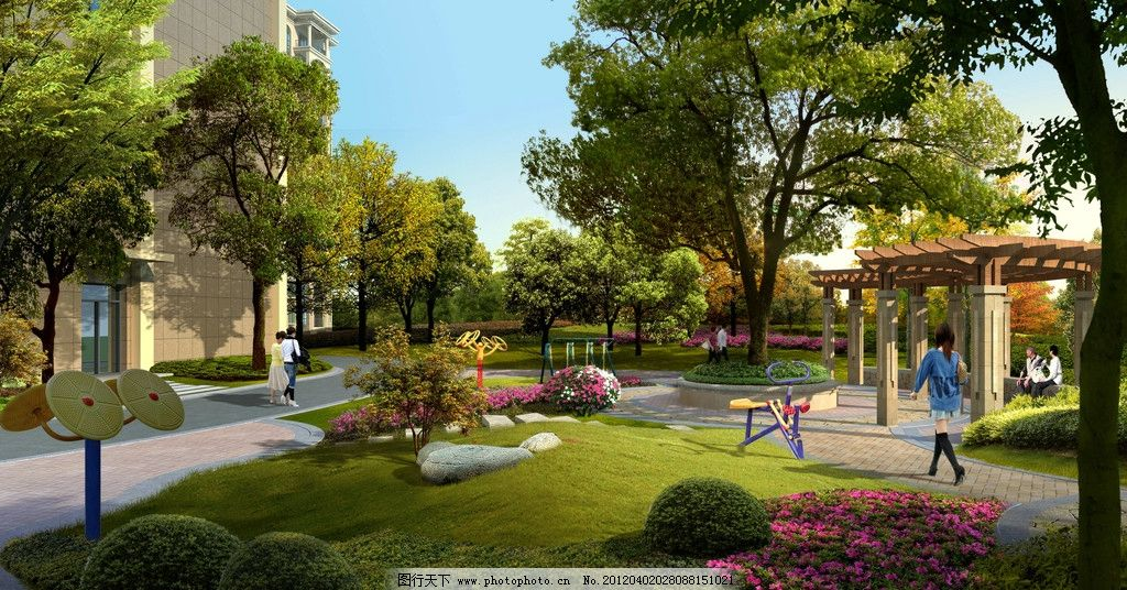 小区效果 小区效果图 绿化 路网 社区小品 规划 景观 建筑设计 环境