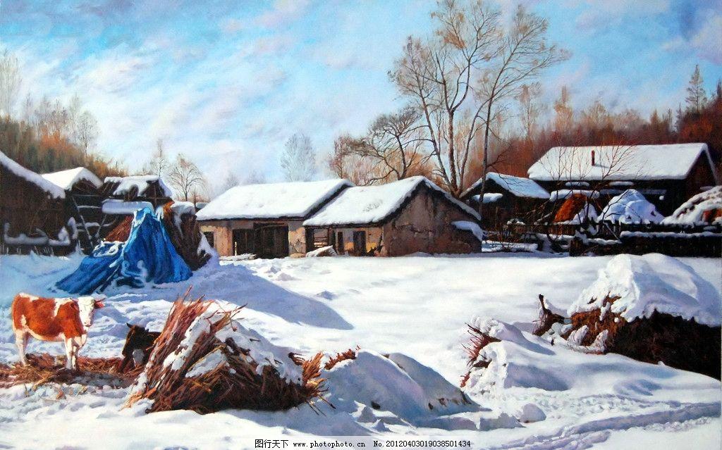 风景 景色 树木 植物 山峰 雪山 木屋 房子 牛 雪地 天空 动物 绘画