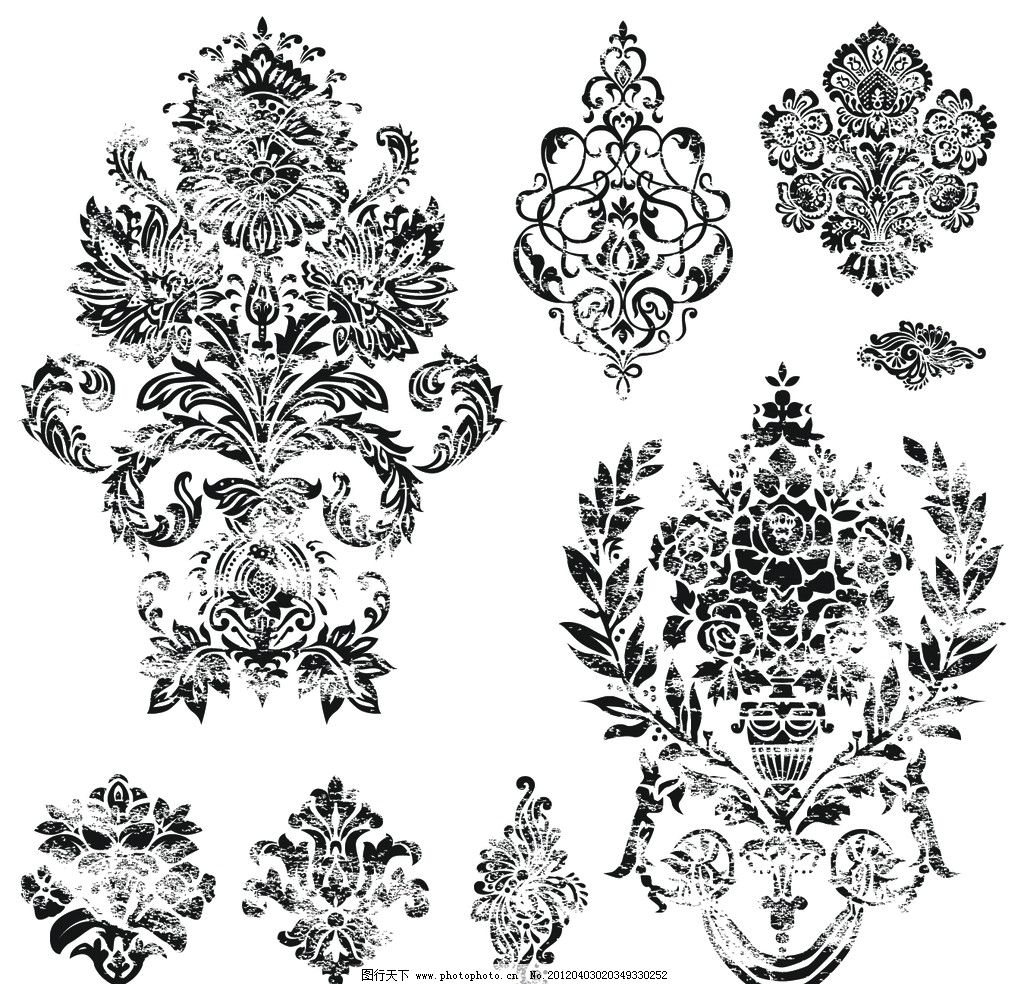 古典花纹花边矢量素材 花纹 花边 角花 对花 装饰花 欧式 古典 传统