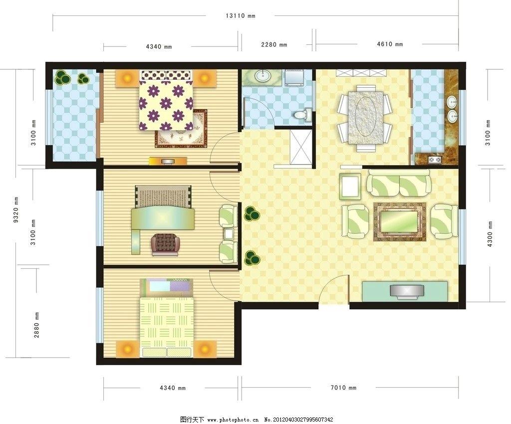 居室平面图 图库 家装素材 三居室             室内设计 建筑家居