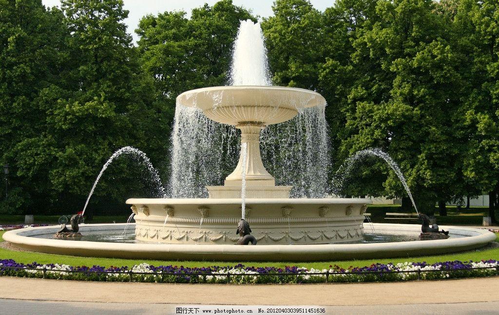 喷泉 水池 双层 树木 园林 园林建筑 建筑园林 摄影 300dpi jpg