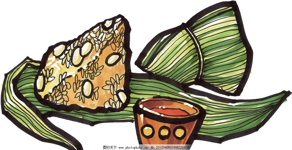 手绘粽子 马克笔手绘美食 餐饮美食 手绘美食 手绘效果美食图 绘画