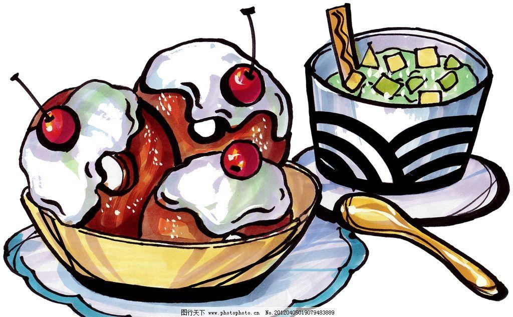 马克笔手绘美食图片