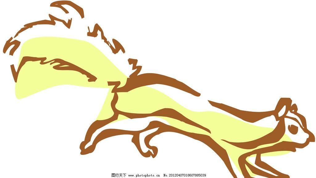 小松鼠 动物线描特写 轮廓线条图 轮廓图 剪影图 动物造型 动物绘画