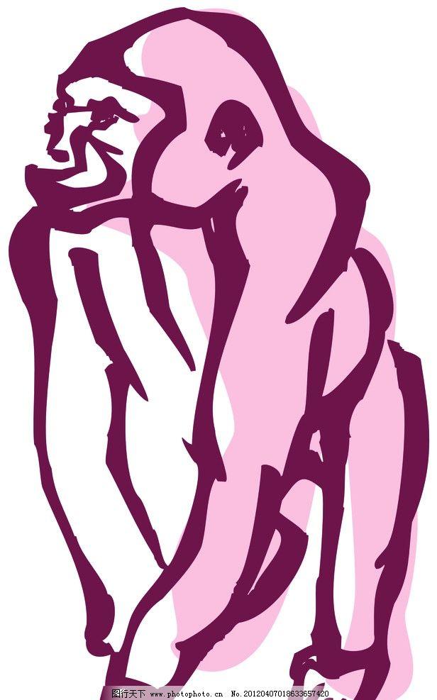 黑猩猩 动物线描特写 轮廓线条图 轮廓图 剪影图 动物造型 动物绘画