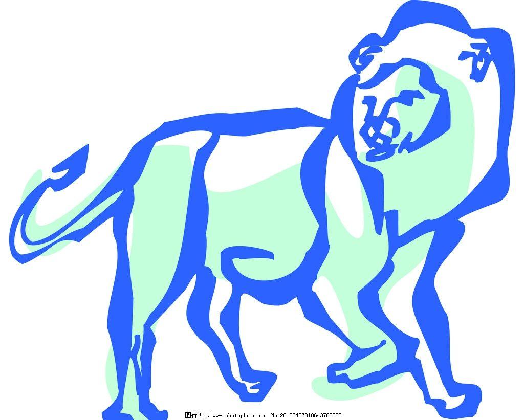 狮子 动物线描特写 轮廓线条图 轮廓图 剪影图 动物造型 动物绘画