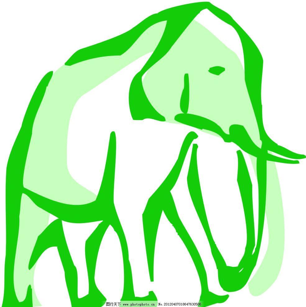 大象 动物线描特写 轮廓线条图 轮廓图 剪影图 动物造型 动物绘画