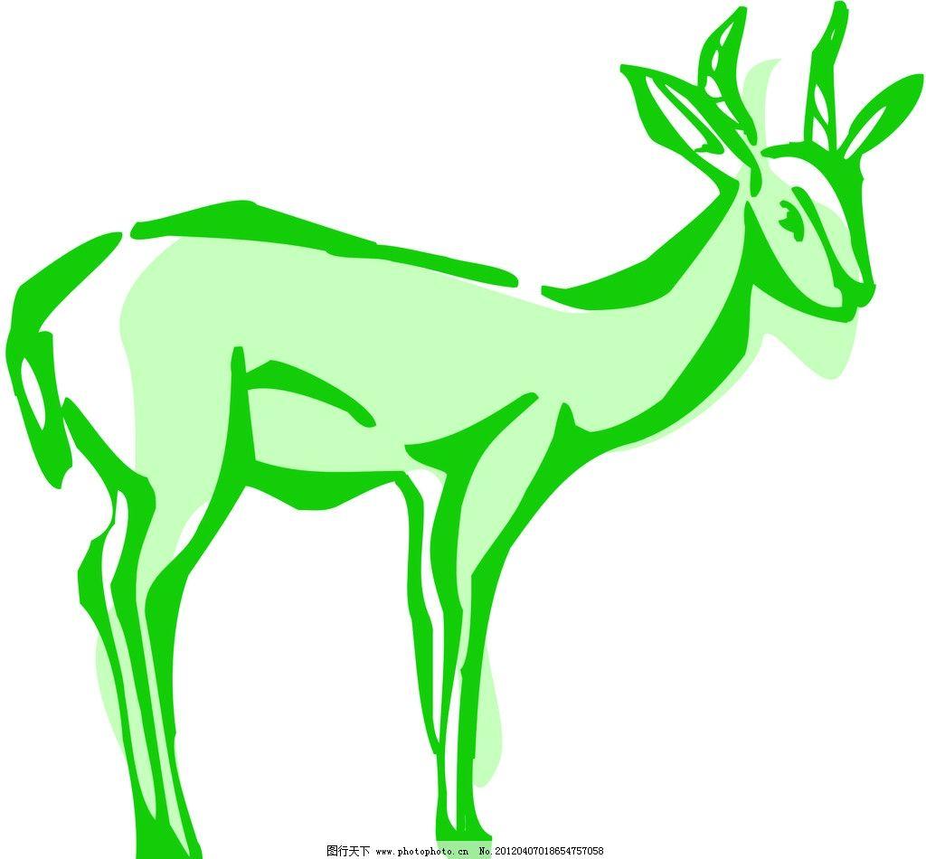 小鹿 小鹿线条 动物线描特写 轮廓线条图 轮廓图 剪影图 动物造型
