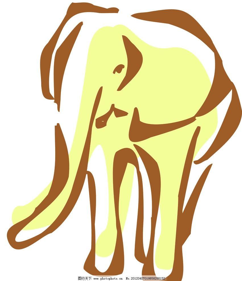 大象 动物线描特写 轮廓线条图
