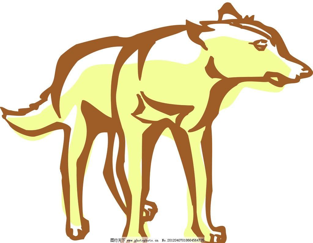 动物线描特写 轮廓线条图 轮廓图 剪影图 动物造型 动物绘画 动物线条