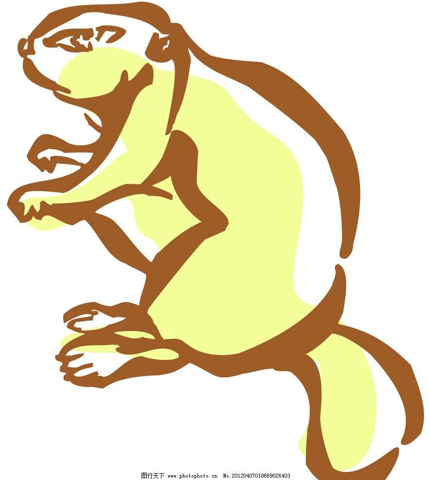 松鼠 动物线描特写 轮廓线条图 轮廓图 剪影图 动物造型 动物绘画