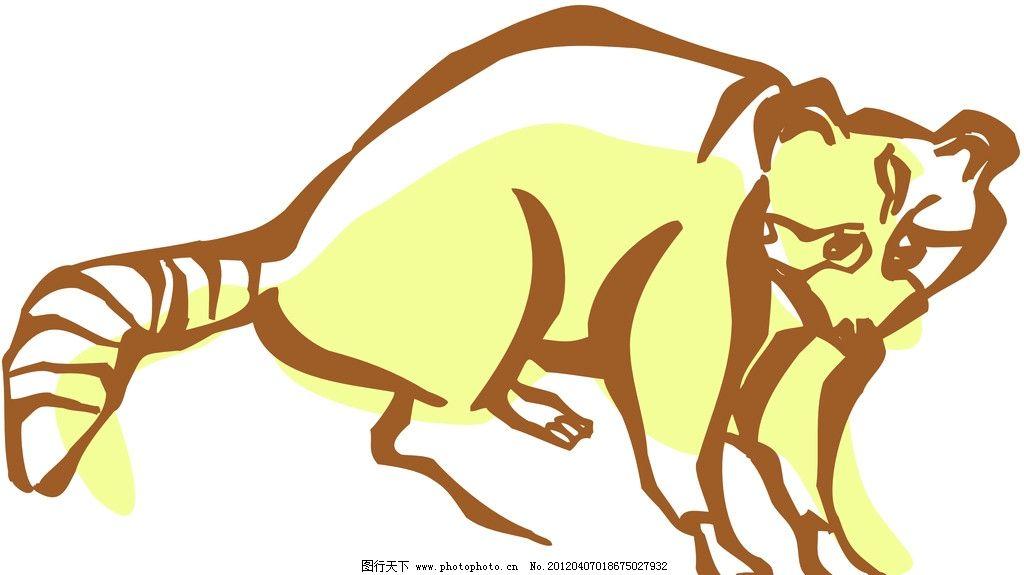 小猫 动物线描特写 轮廓线条图 轮廓图 剪影图 动物造型 动物绘画