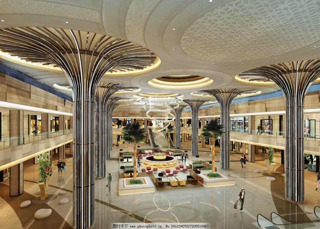 商业广场中庭 室内 天花 商场大厅 柱子 花朵 购物人士 室内设计 环境