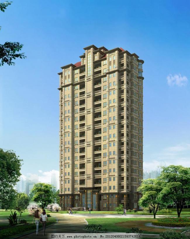 建筑表现 建筑模型 建筑设计 建筑素材 中式建筑 欧式高层住宅效果图图片
