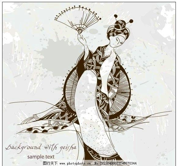 日本女人 艺妓 和服美女 和服 日本 扇子 日本风情 手绘 女人和服