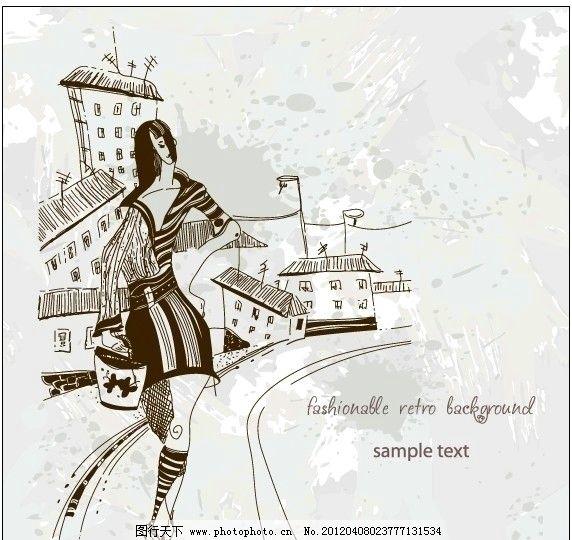 手绘购物美女图片,都市 逛街 白领 贵妇 少妇 鞋子-图