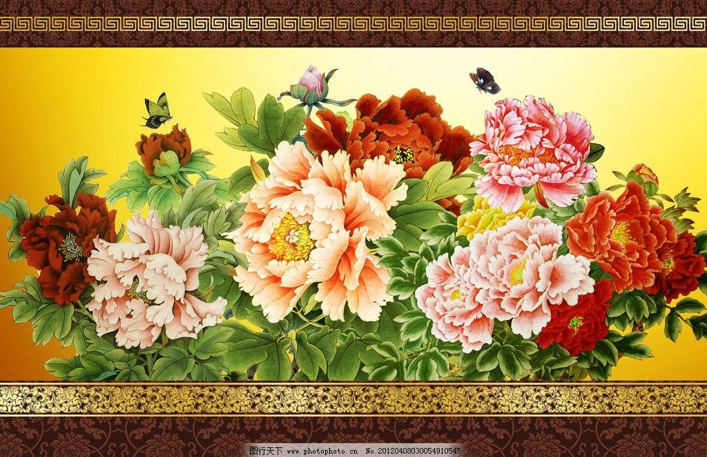 牡丹图背景 广告 花 富贵牡丹图无框画 花卉 手绘 油画 装饰画