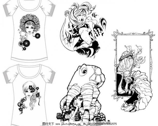 女装tee图案 黑白人物图案 女性图案 女性人头像 人鱼图案 八爪鱼