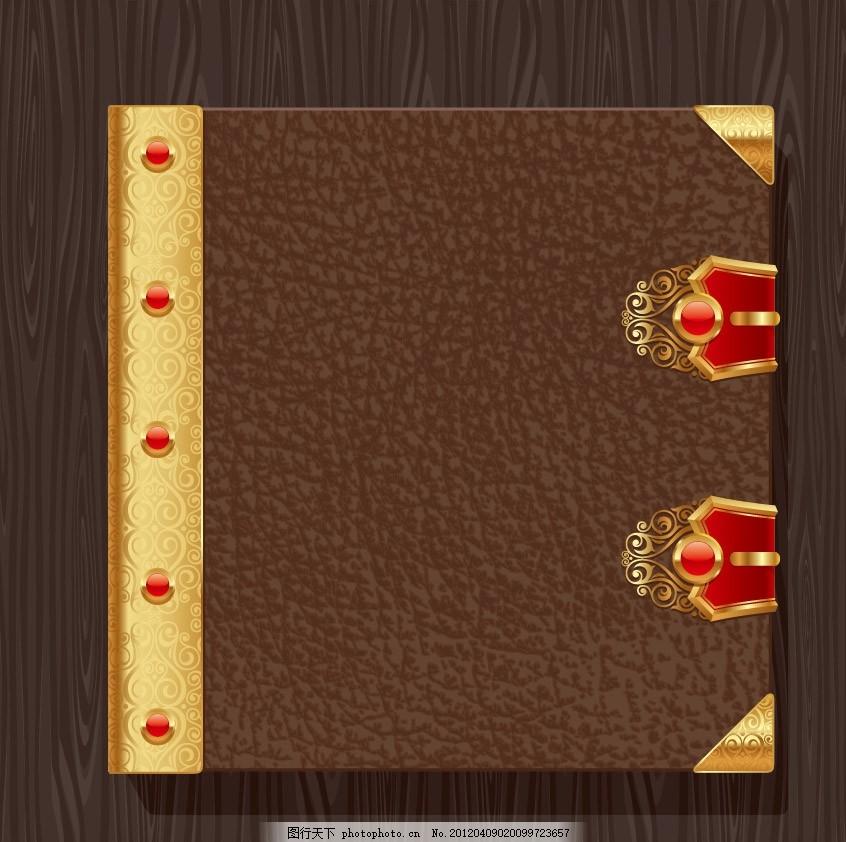 欧式皮革标签背景 花纹 木纹 边框 金边 皮夹 宝石 贴纸 认证