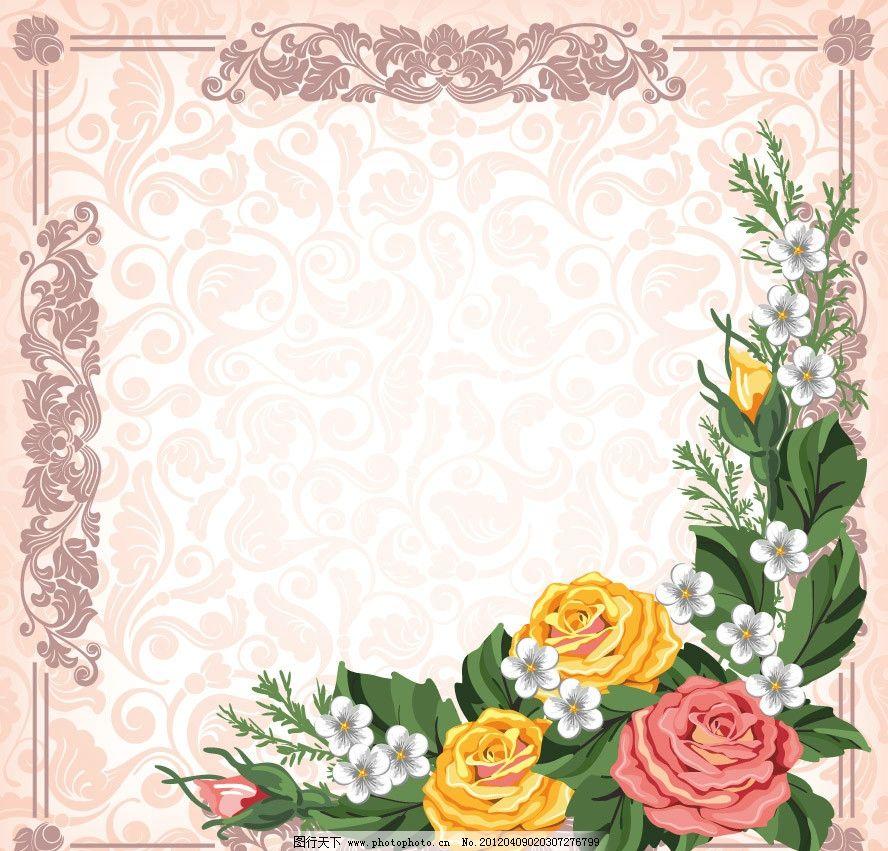 牡丹 欧式 古典 时尚 梦幻 花纹 花朵 鲜花 花边 边框 潮流 背景 底纹