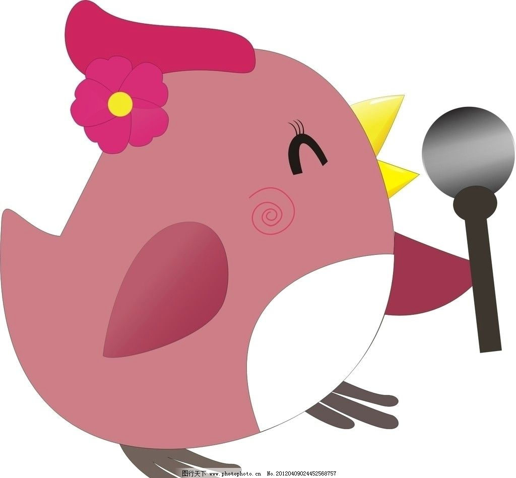 小鸡 可爱 唱歌 话筒 翅膀 花朵 卡通 矢量 开心 高兴 卡通矢量 野生