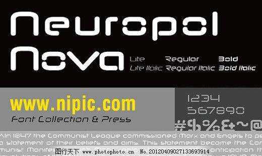 NeuropolNova系列字体下载 英文字体 商业字体 广告字体