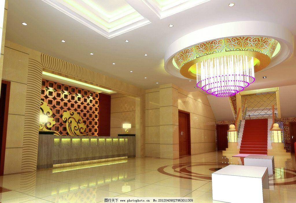 大厅 简欧大厅 接待台 楼梯 水晶灯 室内设计 环境设计 设计 300dpi
