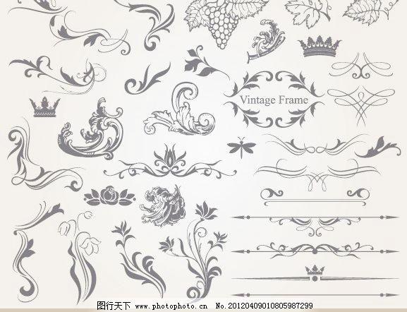 金色 金边 欧式 古典 时尚 潮流 梦幻 标签 贴纸 丝带 麦穗 花纹 花边