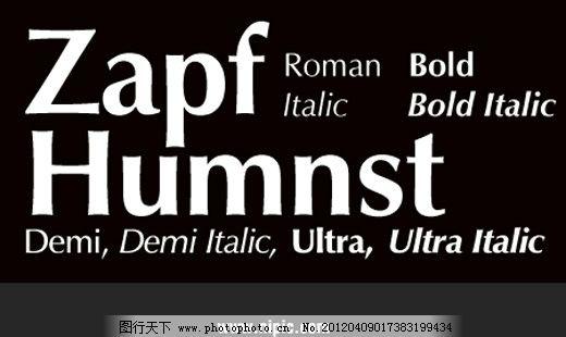 ZapfHumanist系列字体下载 英文字体 商业字体 广告字体
