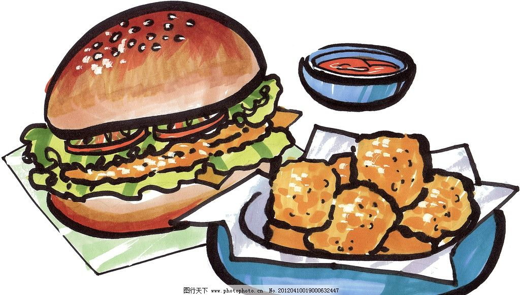 手绘汉堡图片