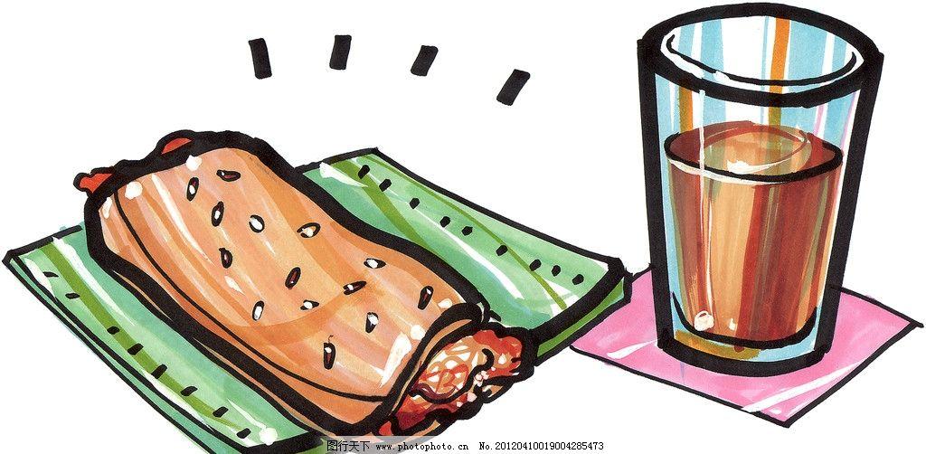 早餐面包 手绘美食 马克笔手绘美食 餐饮美食 手绘效果美食图 果汁