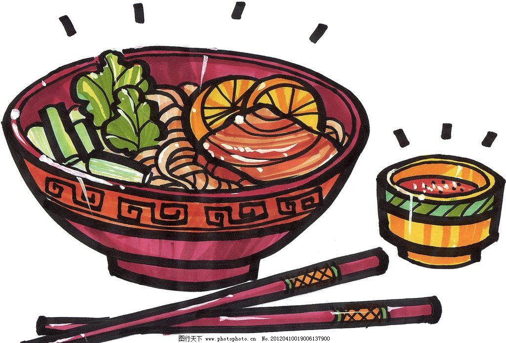 煮面 手绘美食 马克笔手绘美食 餐饮美食 手绘效果美食图 面条
