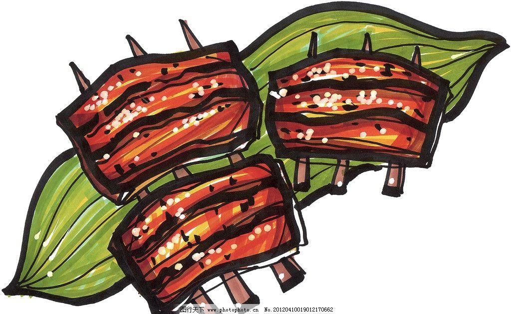 手绘烤肉串 手绘美食 马克笔手绘美食 餐饮美食 冰淇淋 手绘效果美食