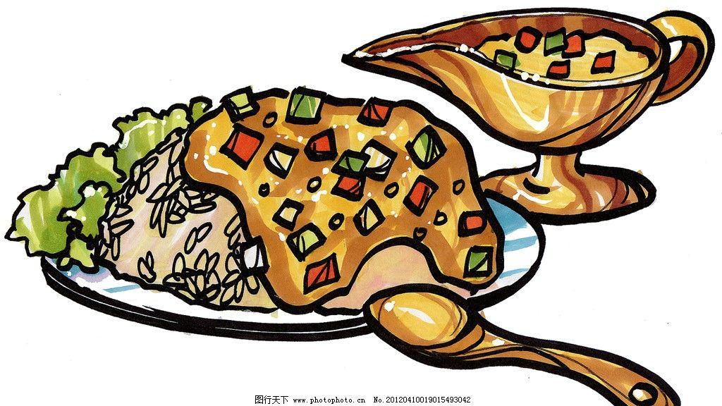 水果沙拉 手绘美食 马克笔手绘美食 餐饮美食 手绘效果美食图 手绘 手