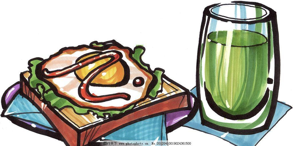 手绘西餐美食图片