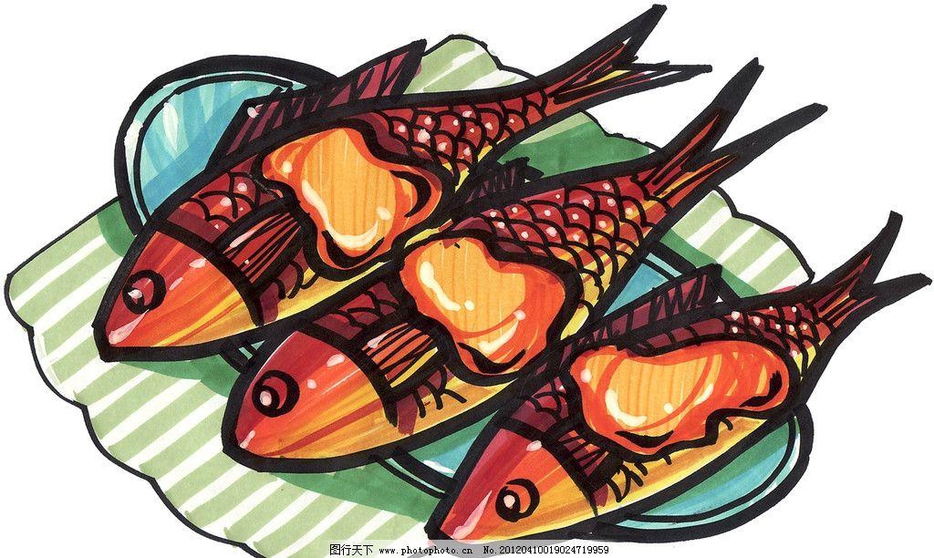 手绘煎鱼 手绘美食 马克笔手绘美食