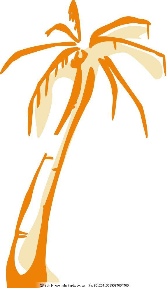 椰子树线描图片