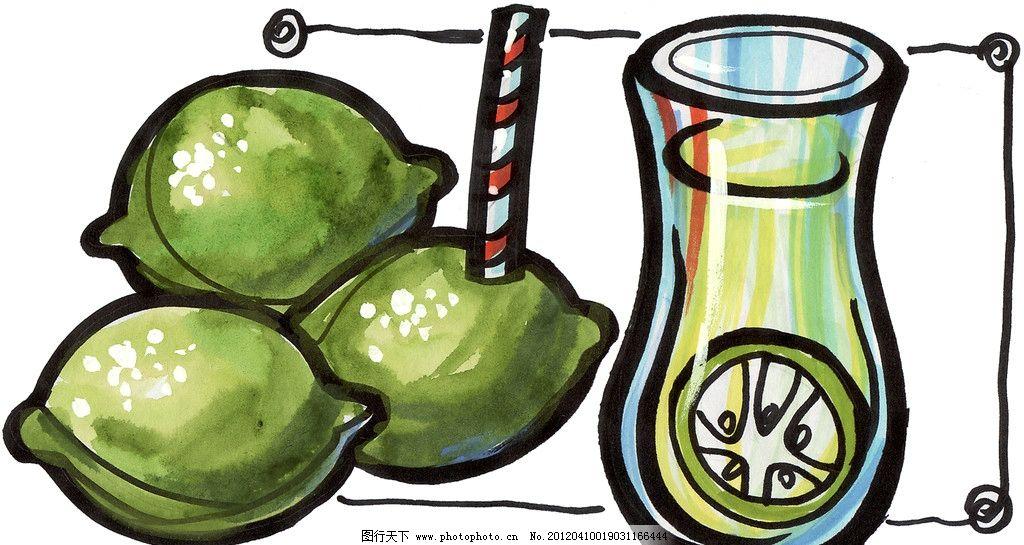 设计图库 文化艺术 绘画书法  手绘柠檬 马克笔手绘美食 餐饮美食