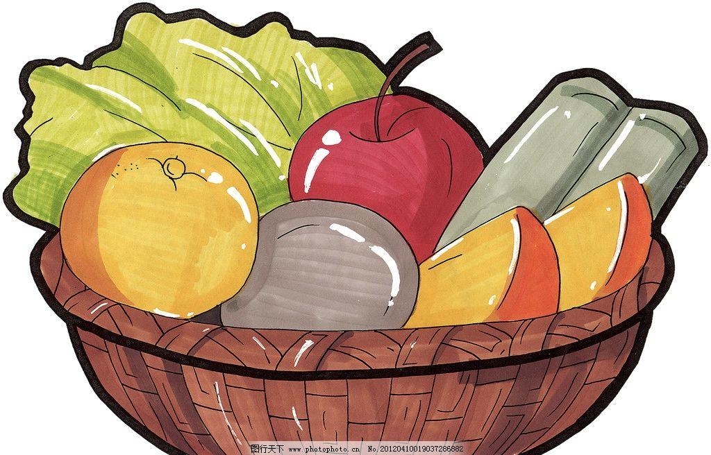 手绘水果篮图片