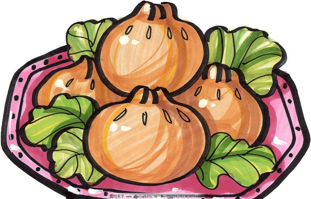 餐包 小笼包 手绘美食 马克笔手绘美食 餐饮美食 手绘效果美食图 蒸包