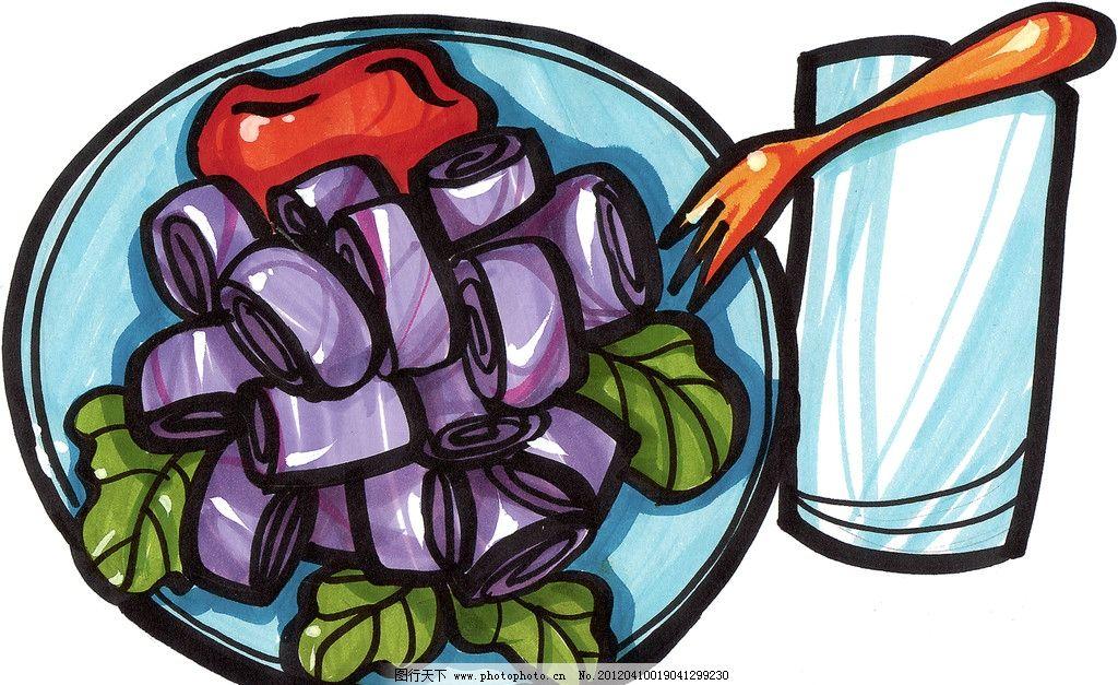 手绘美食 手绘点心 紫薯包 紫薯馒头 马克笔手绘美食 餐饮美食 手绘