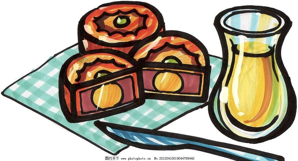 手绘月饼 蛋黄月饼 马克笔手绘美食